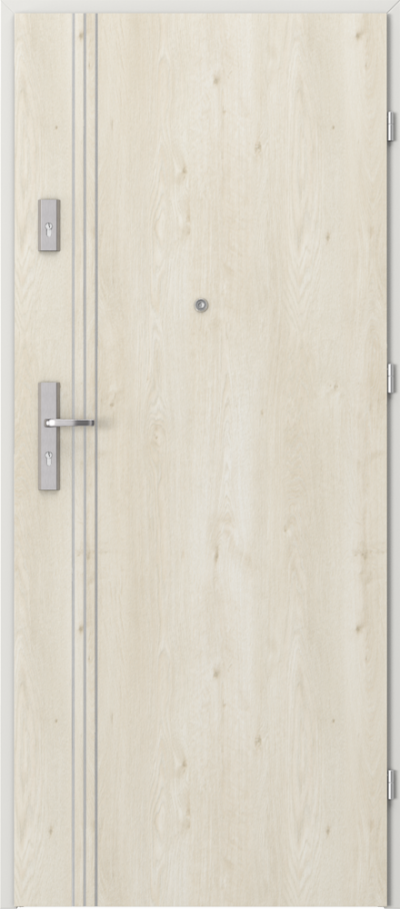 Drzwi wejściowe do mieszkania OPAL Plus intarsje 3 Okleina Portaperfect 3D **** Dąb Skandynawski