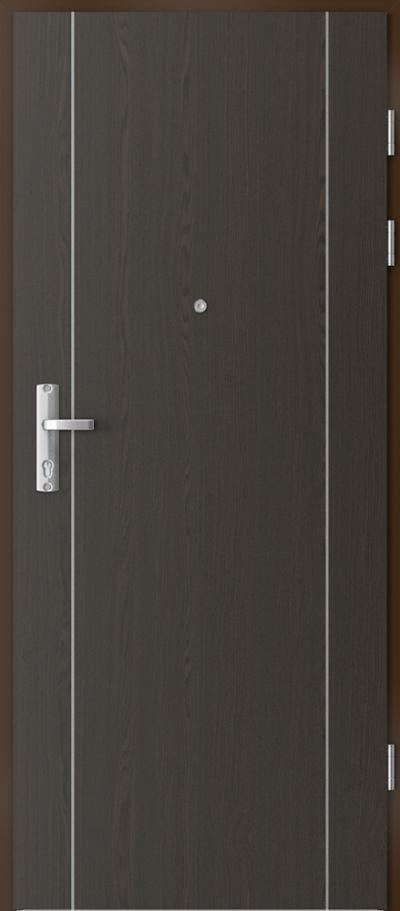 Drzwi wejściowe do mieszkania EXTREME RC3 intarsje 1 Okleina Naturalna Select **** Orzech Ciemny