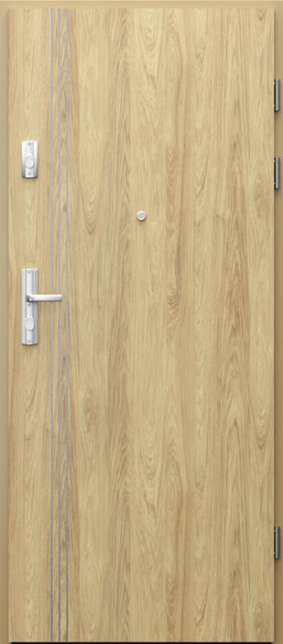 Drzwi wejściowe do mieszkania GRANIT intarsje 3 Okleina CPL HQ 0,7 ****** Hikora Naturalna