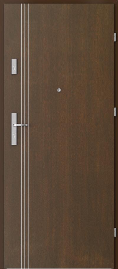 Drzwi wejściowe do mieszkania OPAL Plus intarsje 3 Okleina Naturalna Dąb Satin **** Mocca