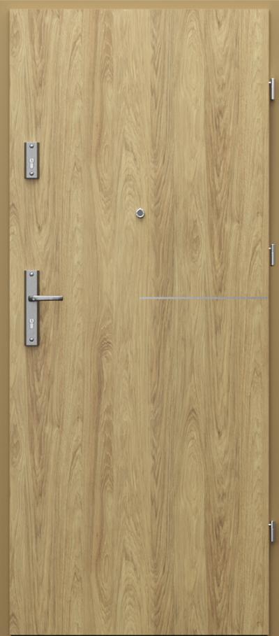 Drzwi wejściowe do mieszkania OPAL intarsje 8 Okleina CPL HQ 0,7 ****** Hikora Naturalna