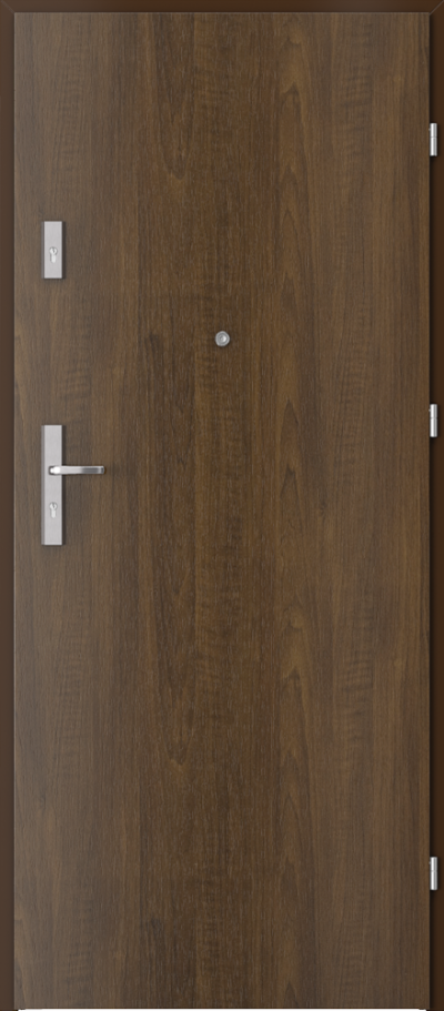 Drzwi wejściowe do mieszkania AGAT Plus pełne Okleina Drewnopodobna PCV **** Orzech