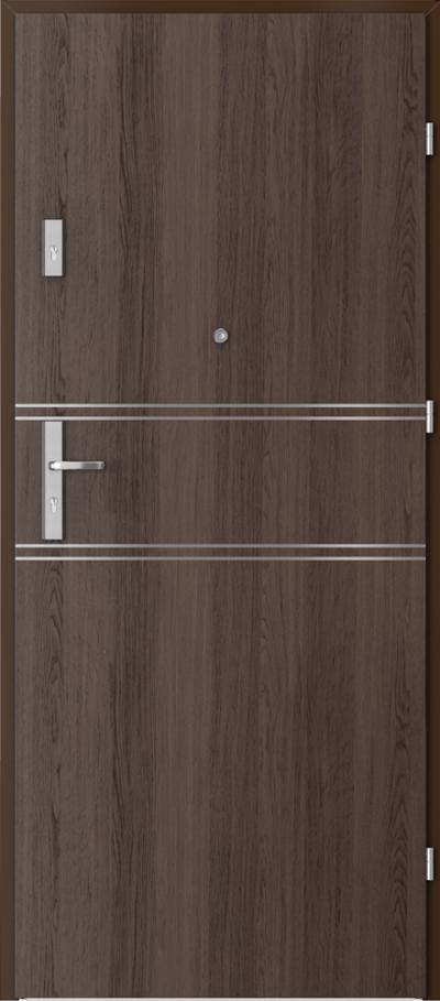 Drzwi wejściowe do mieszkania AGAT Plus intarsje 4 Okleina Portaperfect 3D **** Dąb Hawana
