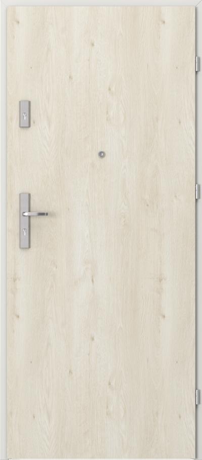 Drzwi wejściowe do mieszkania AGAT Plus pełne Okleina Portaperfect 3D **** Dąb Skandynawski