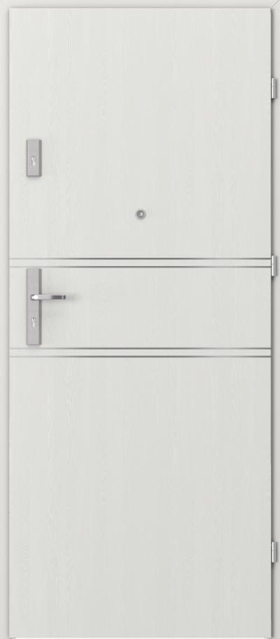Drzwi wejściowe do mieszkania AGAT Plus intarsje 4 Okleina Portasynchro 3D *** Wenge White