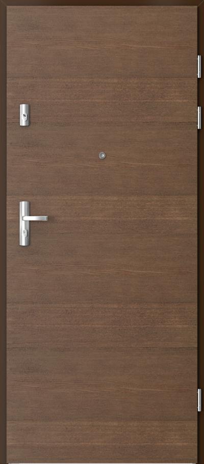 Drzwi wejściowe do mieszkania GRANIT pełne - poziom Okleina Naturalna Dąb Satin **** Dąb Brunatny