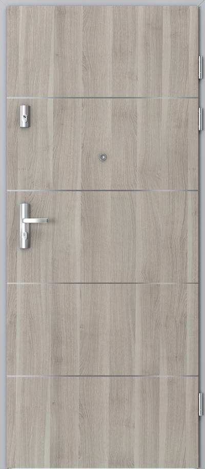 Drzwi wejściowe do mieszkania KWARC intarsje 6 Okleina Portasynchro 3D *** Akacja Srebrna