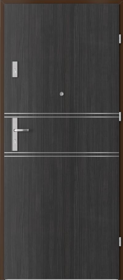 Drzwi wejściowe do mieszkania OPAL Plus intarsje 4 Okleina CPL HQ 0,2 ***** Struktura ciemny