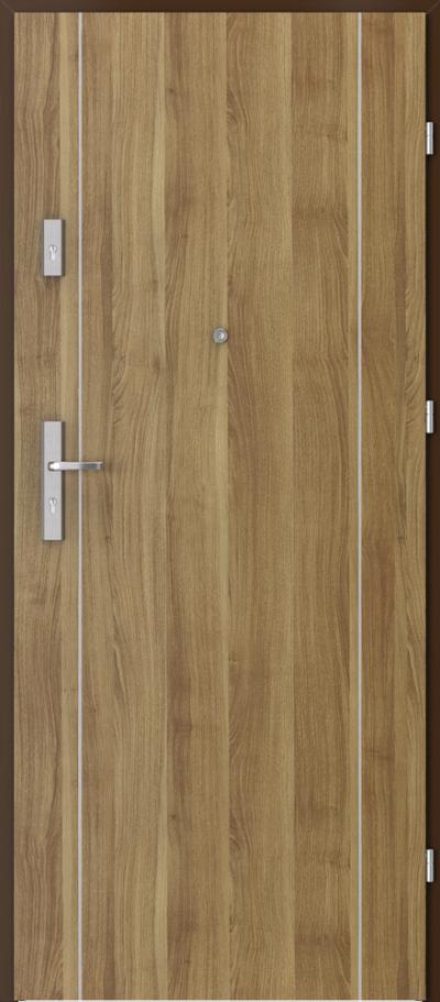 Drzwi wejściowe do mieszkania AGAT Plus intarsje 1 Okleina Portasynchro 3D *** Akacja Miodowa