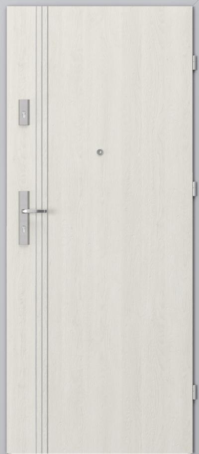 Drzwi wejściowe do mieszkania OPAL Plus intarsje 3 Gladstone/Halifax ****** Dąb Biały