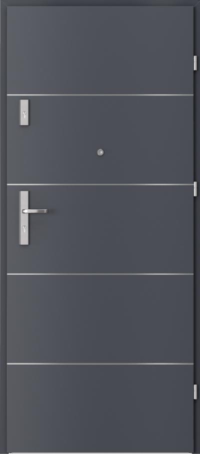 Drzwi wejściowe do mieszkania OPAL Plus intarsje 6 Okleina CPL HQ 0,7 ****** Antracyt HPL/CPL