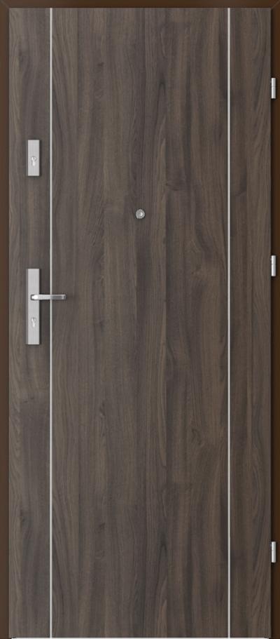 Drzwi wejściowe do mieszkania OPAL Plus intarsje 1 Okleina Portasynchro 3D *** Dąb Ciemny