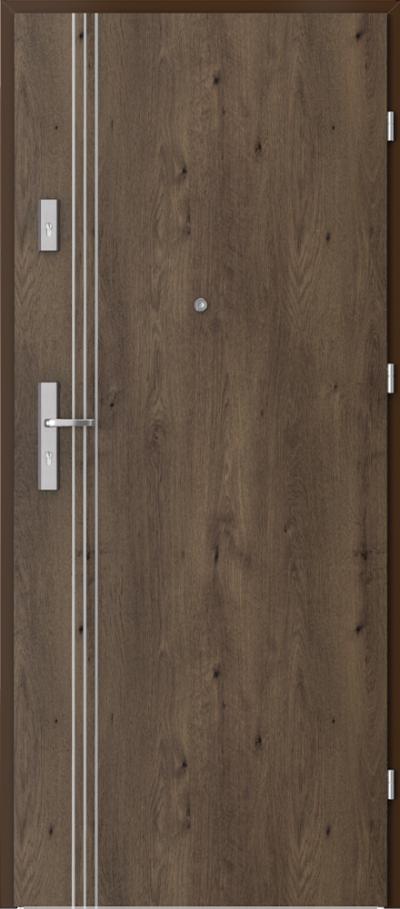 Drzwi wejściowe do mieszkania AGAT Plus intarsje 3 Okleina Portaperfect 3D **** Dąb Południowy