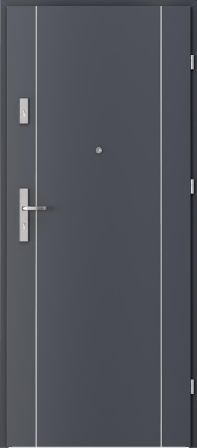 Drzwi wejściowe do mieszkania OPAL Plus intarsje 1 Okleina CPL HQ 0,7 ****** Antracyt HPL/CPL