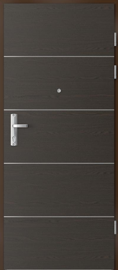 Drzwi wejściowe do mieszkania EXTREME RC3 intarsje 6 Okleina Naturalna Select **** Orzech Ciemny