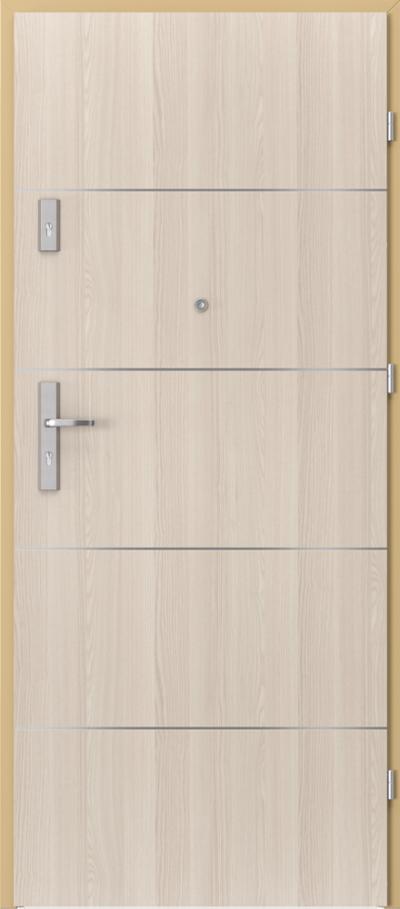 Drzwi wejściowe do mieszkania AGAT Plus intarsje 6 Okleina CPL HQ 0,2 ***** Orzech Bielony