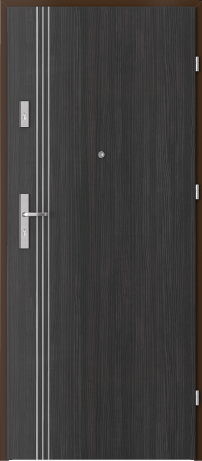 Drzwi wejściowe do mieszkania OPAL Plus intarsje 3 Okleina CPL HQ 0,7 ****** Struktura ciemny