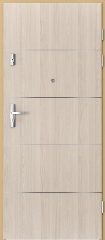 Drzwi wejściowe do mieszkania KWARC intarsje 6 Okleina CPL HQ 0,7 ****** Orzech Bielony