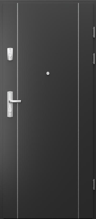 Drzwi wejściowe do mieszkania GRANIT intarsje 1 Okleina CPL HQ 0,7 ****** Czarny
