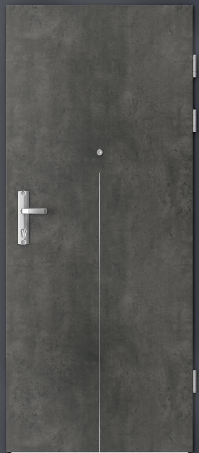 Drzwi wejściowe do mieszkania EXTREME RC3 intarsje 9 Okleina CPL HQ 0,7 ****** Beton Ciemny
