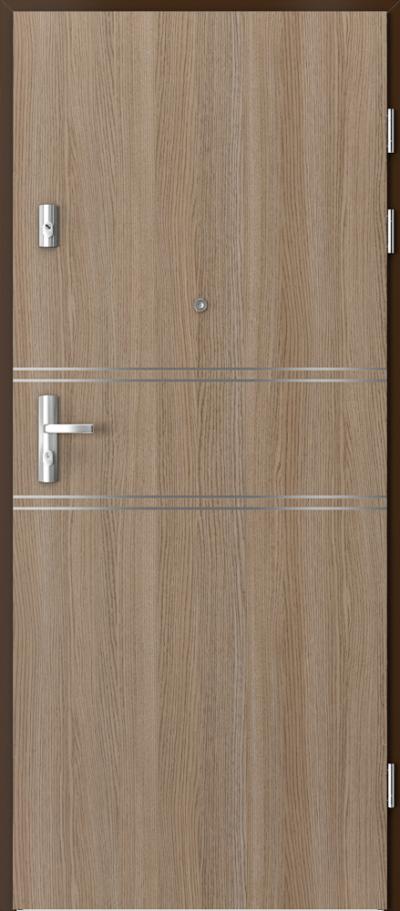 Drzwi wejściowe do mieszkania KWARC intarsje 4 Okleina CPL HQ 0,7 ****** Dąb Milano 2