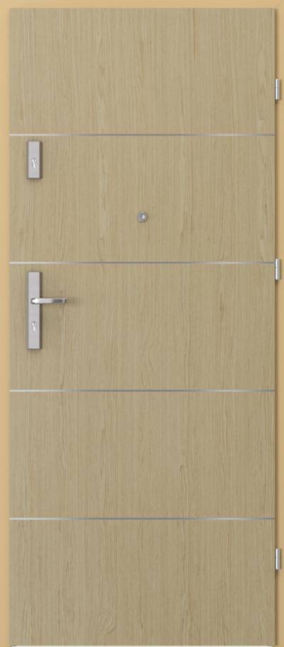 Drzwi wejściowe do mieszkania OPAL Plus intarsje 6 Okleina Naturalna Select **** Dąb