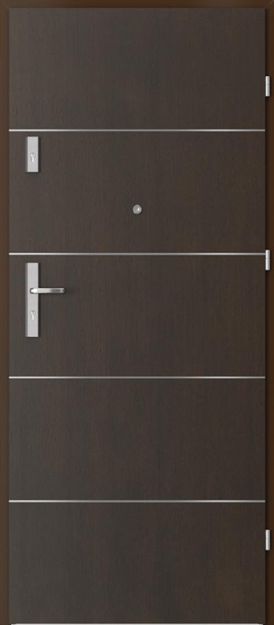 Drzwi wejściowe do mieszkania OPAL Plus intarsje 6 Okleina Naturalna Dąb Satin **** Nero