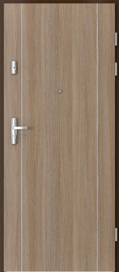 Drzwi wejściowe do mieszkania KWARC intarsje 1 Okleina CPL HQ 0,2 ***** Dąb Milano 2