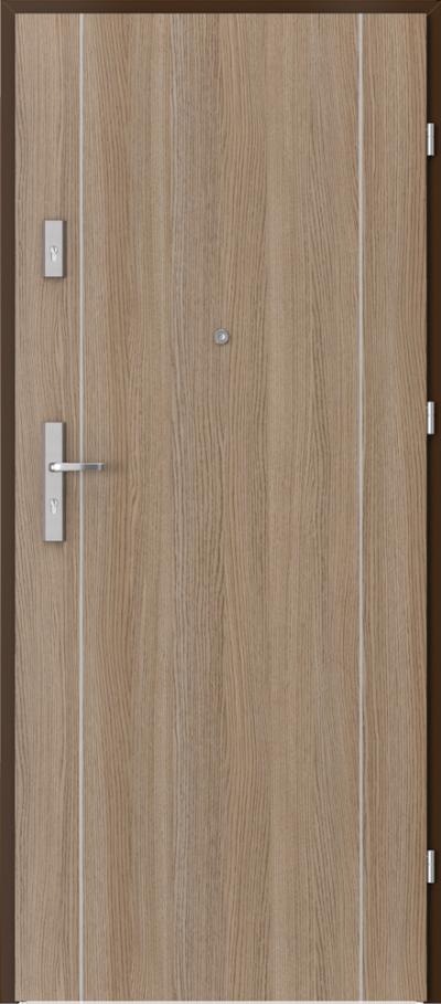 Drzwi wejściowe do mieszkania OPAL Plus intarsje 1 Okleina CPL HQ 0,2 ***** Dąb Milano 2