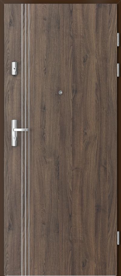 Drzwi wejściowe do mieszkania KWARC intarsje 3 Okleina Portasynchro 3D *** Dąb Szkarłatny