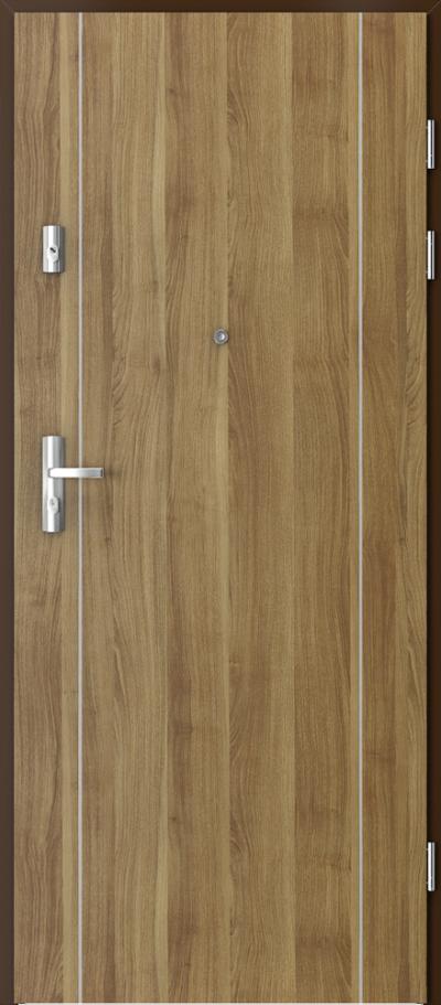 Drzwi wejściowe do mieszkania KWARC intarsje 1 Okleina Portasynchro 3D *** Akacja Miodowa