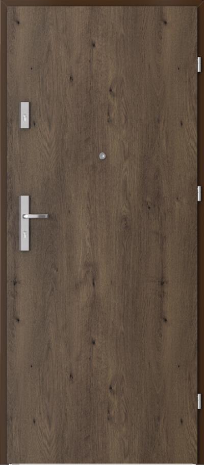 Drzwi wejściowe do mieszkania AGAT Plus pełne Okleina Portaperfect 3D **** Dąb Południowy