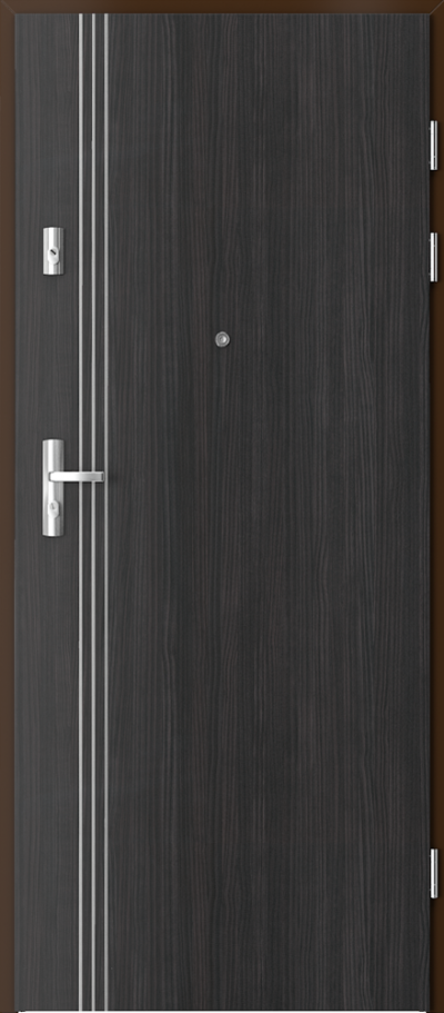 Drzwi wejściowe do mieszkania KWARC intarsje 3 Okleina CPL HQ 0,7 ****** Struktura ciemny