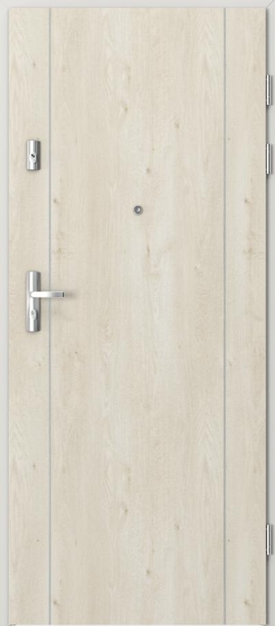 Drzwi wejściowe do mieszkania KWARC intarsje 1 Okleina Portaperfect 3D **** Dąb Skandynawski