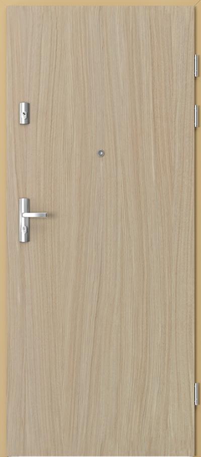 Drzwi wejściowe do mieszkania GRANIT pełne - pion Okleina Naturalna Dąb Satin **** Dąb Jasny