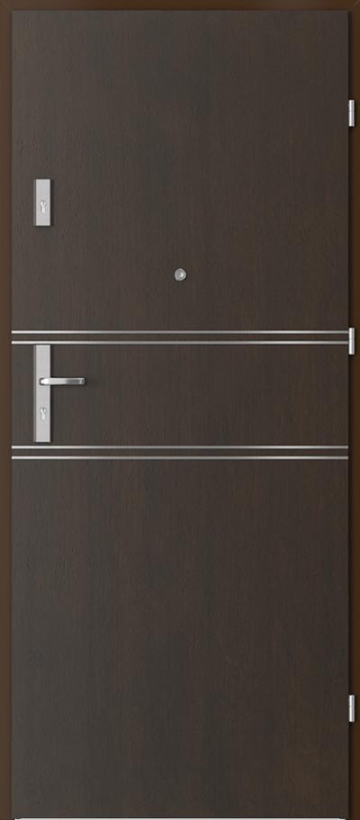 Drzwi wejściowe do mieszkania OPAL Plus intarsje 4 Okleina Naturalna Dąb Satin **** Nero