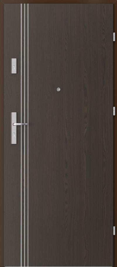 Drzwi wejściowe do mieszkania OPAL Plus intarsje 3 Okleina Naturalna Select **** Orzech Ciemny