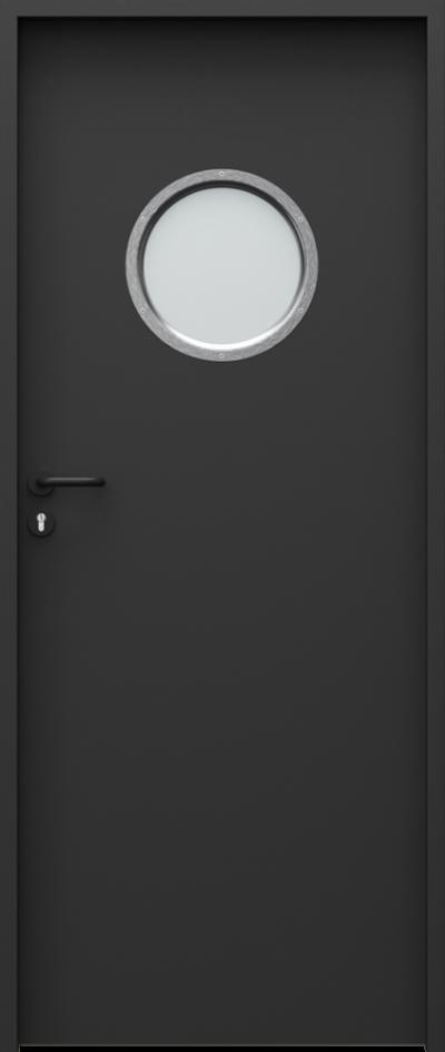Drzwi techniczne Steel SOLID 4 Farba Poliestrowa Premium ***** Czarny struktura