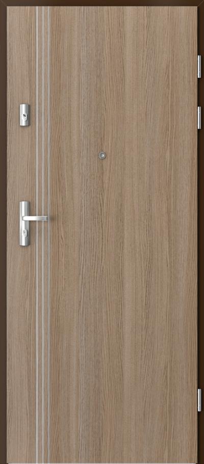 Drzwi wejściowe do mieszkania KWARC intarsje 3 Okleina CPL HQ 0,7 ****** Dąb Milano 2