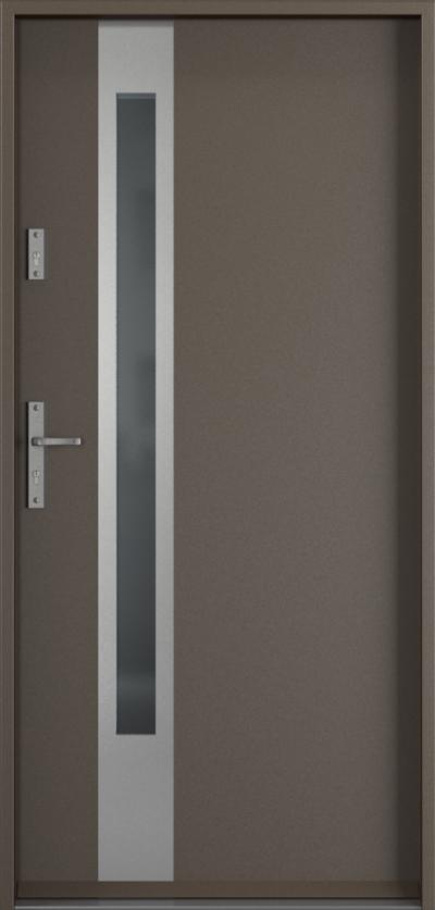 Drzwi wejściowe do domu Steel SAFE RC2 Thermo D1 Farba Poliestrowa ***** Metalic Titanium
