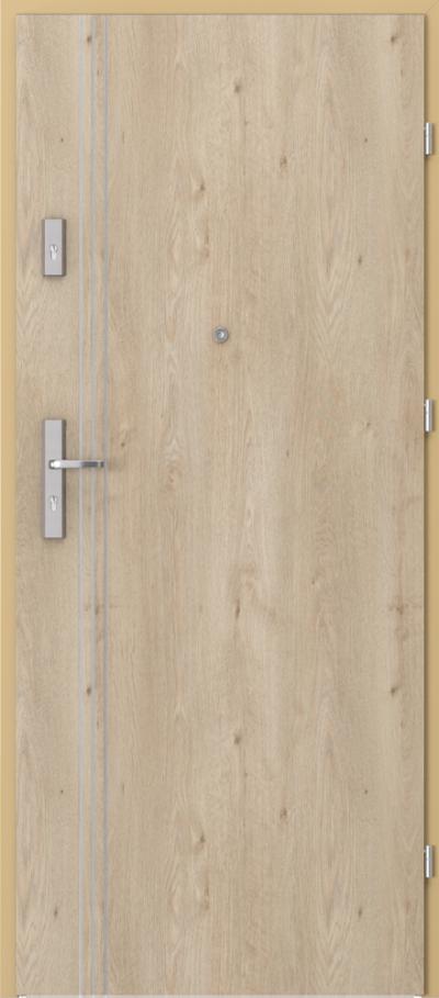 Drzwi wejściowe do mieszkania OPAL Plus intarsje 3 Okleina Portaperfect 3D **** Dąb Klasyczny