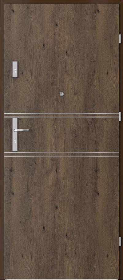 Drzwi wejściowe do mieszkania OPAL Plus intarsje 4 Okleina Portaperfect 3D **** Dąb Południowy