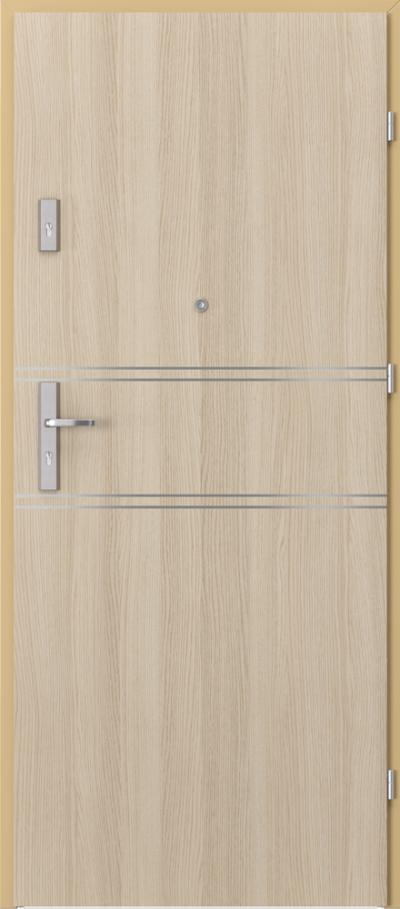 Drzwi wejściowe do mieszkania AGAT Plus intarsje 4 Okleina CPL HQ 0,2 ***** Dąb Milano 1