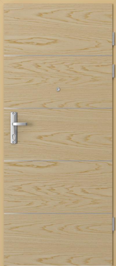 Drzwi wejściowe do mieszkania EXTREME RC3 intarsje 6 Okleina Naturalna Jesion **** Jesion