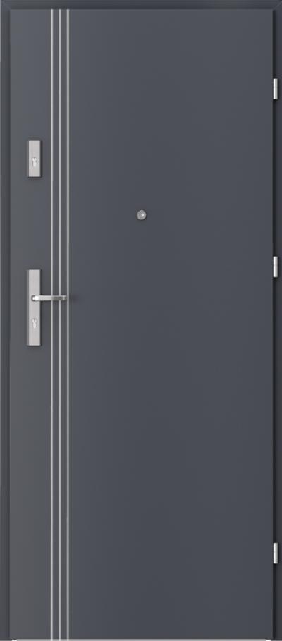 Drzwi wejściowe do mieszkania AGAT Plus intarsje 3 Okleina CPL HQ 0,2 ***** Antracyt HPL CPL