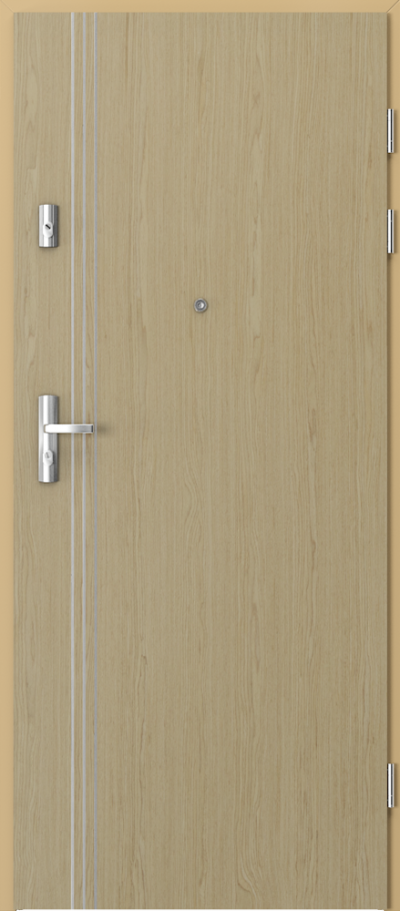 Drzwi wejściowe do mieszkania KWARC intarsje 3 Okleina Naturalna Select **** Dąb