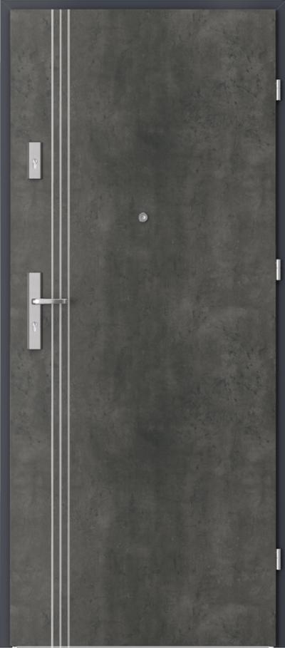 Drzwi wejściowe do mieszkania OPAL Plus intarsje 3 Okleina CPL HQ 0,2 ***** Beton Ciemny