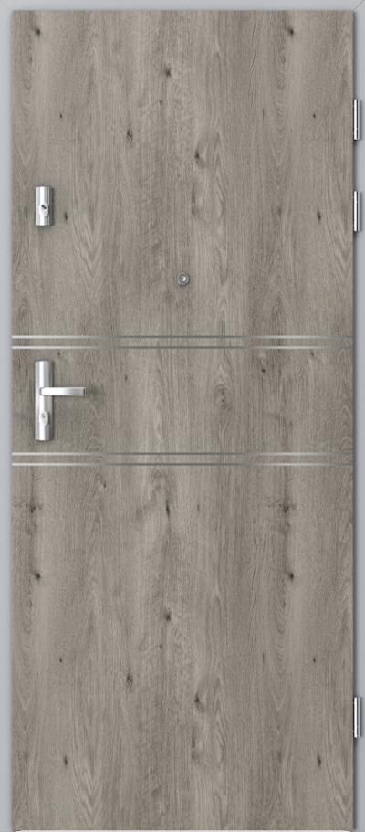 Drzwi wejściowe do mieszkania KWARC intarsje 4 Okleina Portaperfect 3D **** Dąb Syberyjski