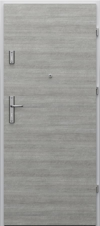 Drzwi wejściowe do mieszkania AGAT Plus pełne - poziomy układ okleiny