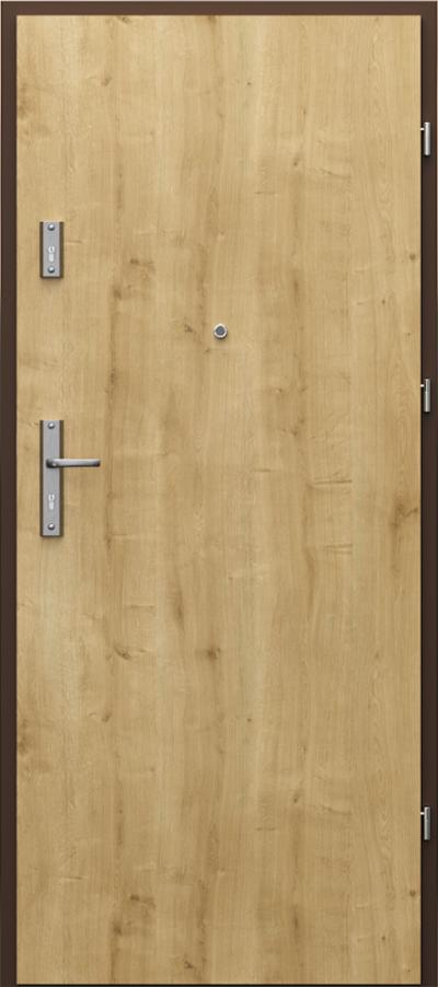 Drzwi wejściowe do mieszkania OPAL Plus pełne - pionowy układ okleiny